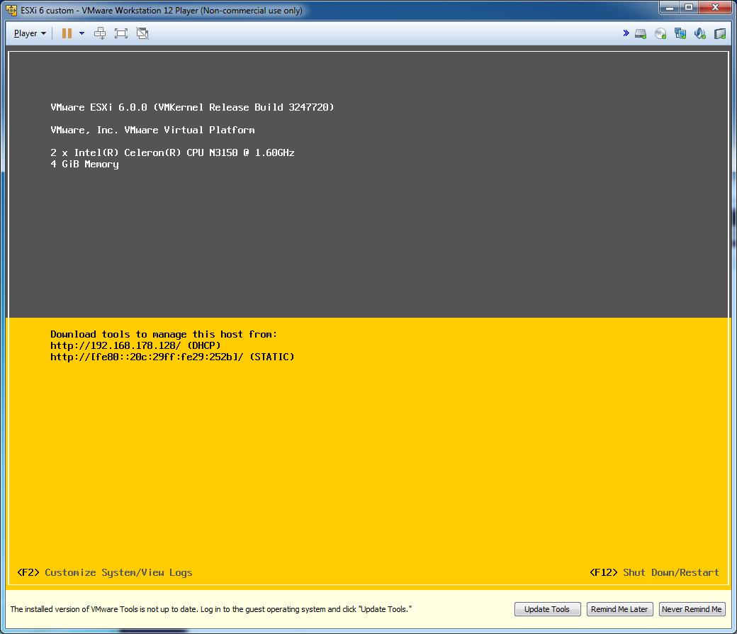 VMware ESXi 6 0 / N3150 / J3160 ITX – Braswell platform **problem